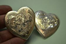 FLEMING 214 Sterling Floral Heart Shaped Conchos for Saddle & Chaps 1 3/4""