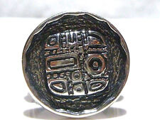 SIZE 7.5 UNIQUE SILPADA AZTEC MAYAN LIKE STERLING SILVER ROUND RING BAND
