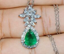 CERTIFIED NATURAL 4CTS VS F DIAMOND EMERALD 18K SOLID GOLD SLIDE CHARM PENDANT