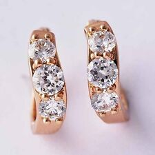 kids jewellery rose Solid Gold Plated Rhinestone tiny hoop earrings for Teen