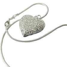 Silver Plated Filled Hollow Flower Heart Vintage Pendant Necklace WB