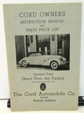 1936 1937 Cord Owners Instruction Manual & Parts Price List Model 810 812 New