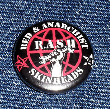 2 x RASH Button schwarz black Red Anarchist Skinheads RASH antifascist