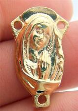 """MRT Blessed Virgin Saint Mary Holy Rosary Centerpiece Gold Plate 7/8"""" Italy Gift"""