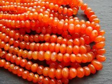 "HAND SHAPED VIBRANT CARNELIAN RONDELLES, graduated 7mm - 12mm, 17"", 65+ beads"