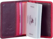 VISCONTI LUXURY SOFT LEATHER CREDIT CARD HOLDER IN PLUM MULTI RB-44 , FAB !!