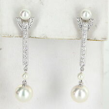 Mikimoto Akoya Pearl Diamond Drop Earrings Estate 18k White Gold Fine Jewelry