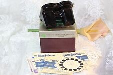 1940's VINTAGE SAWYER'S VIEW-MASTER STEREOSCOPE BAKELITE VIEWER BOX & 8 REELS