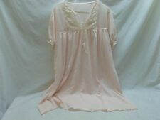 Vtg Womens S Retro Mod Pink Lace Sheer Nylon Baby Doll  Night Gown Pajama