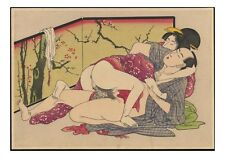 Utagawa School, Graphic Erotic ukiyo-e floating world Japanese Shunga, A4 Poster