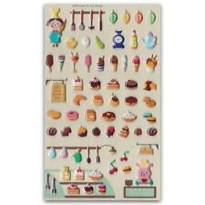 ✰ CUTE BAKERY SHOP PUFFY STICKERS Pearl Finish Sheet Kid Craft Dessert Sticker