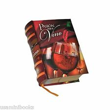 New Pasion por el Vino Spanish miniature book readable hardcover a great gift