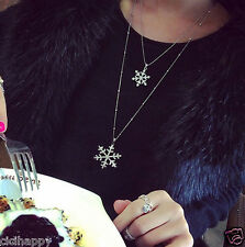 Two layer Snowflake pendant thin chain necklace double layer UK Seller