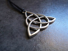 Silver Toned Celtic Knot Triquetra Necklace Pendant Metallic Charm In Black Cord