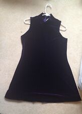 purple velvet mock neck turtle short dress mini Sz L Rave 90s cyber punk party