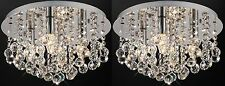 2x Chandelier Flush Ceiling Light Fitting Cascading Genuine Crystal Ball Pendant