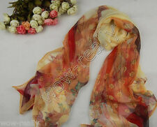 Free Shipping New Fashion Maid Pattern Georgette Wrap Chiffon Yellow Scarf Shawl