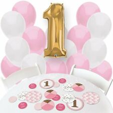 Girl 1st Birthday - Fun to be One - Confetti and Balloon Birthday Party - Combo