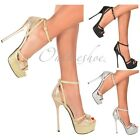LADIES GLITTER SPARKLY PLATFORM STILETTO HIGH HEELS PEEP TOE STRAPPY SANDALS