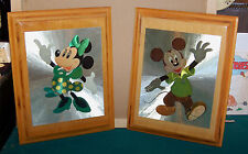 Mickey / Minnie mouse foiled and laminated pictures on wood plaque