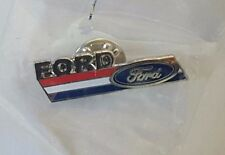 RED WHITE & BLUE STRIP FORD LOGO CAR AUTOMOBILE LAPEL HAT PIN BADGE