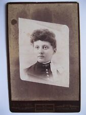 Vintage Memorial Cabinet Card Photo Woman named Jennerie L. Booth Jetmore, KS.
