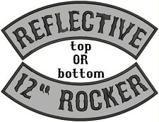 "12"" inch REFLECTIVE Top, Bottom OR Side Rocker, Embroidered Sew-On custom patch"