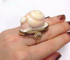 So Cute! Unusual Carved Coral Snail 14K Yellow Gold Ring Size 6