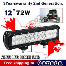 72W 12 inch CREE LED Light Bar Combo Beam Work Off Road Truck Boat Jeep SUV 10