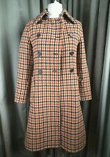 BCBG Maxazria Herringbone & Houndstooth Reversible Orange Brown Coat - 10
