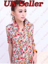 Casual New Ladies Women Blouse Shirt Retro Slim Flower Pattern Shirt Tops 8-10