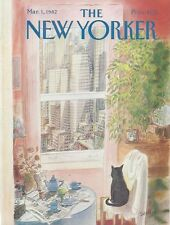COVER ONLY ~The New Yorker magazine ~ March 1, 1982  Sempe Sempé ~ Cat at window