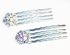 USA MINI Hair Comb Clip Hairpin using Swarovski AB Crystal Wedding Bridal