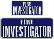 Fire Investigator embroidery patches 4x10 and 3x6 hook navy