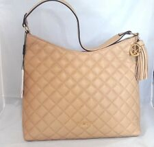 NWT Calvin Klein Quilted Pebble Nude Leather Tassel Hobo Shoulder Bag camel