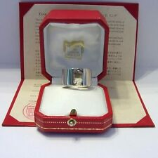 CARTIER 18CT WHITE GOLD TANK DE RING. BOX & CERTIFICATE. SUPERB CONDITION.