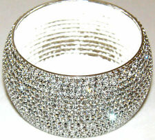 Beautiful 15 Row Silver Diamante Crystal Bangle Diamonte Bracelet