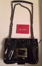 New Roger Vivier Metro Black Patent Leather Bag cross body, $2250, BNT
