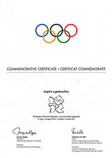Official London 2012 Olympic Games Commemorative Certificate