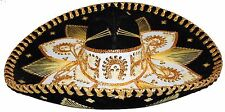 Adult Mexican Mariachi Hat Sombrero Charro Cinco de Mayo Folk Art Black Gold