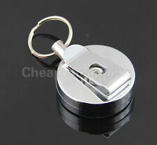 Stainless Steel Badge Reel Retractable Key Ring Pull ID Card Holder Infinity