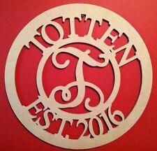 """24"""" Circle Letter Family Name MDF EST. letter Room Decor Custom 24in - White"""