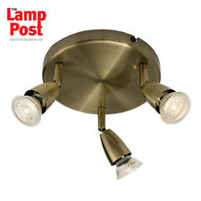Saxby 60997 Amalfi 3 Light Triple Spotlight Ceiling Mounted Antique Brass