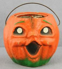 #668 - VINTAGE PULP PAPER CANDY BUCKET J-O-L PUMPKIN WITH WIRE HANDLE 5 INCH