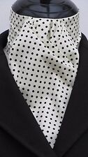 Ready Tied Cream & Black Pin Dot Cotton Dressage Riding Stock - Show Hunting