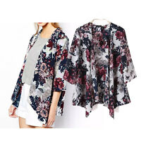 UK Vintage Floral Loose Kimono Boho Chiffon Cardigan Coat Jacket Top Blouse