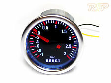 Universal 52mm Smoked Turbo Boost Gauge -1 to 3 Bar Pressure 2 Metre of Hose