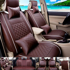 5-Seats Car Seat Cover Front & Rear Neck Lumbar Pillow 7pcs Size M PU Leather