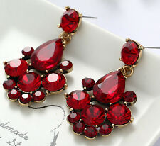 1 Pair Elegant Red Crystal Rhinestone  Ear Drop Dangle Stud long Earrings 164