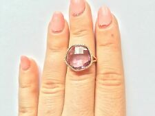 14K ROSE GOLD DIAMOND & PINK AMETHYST HALO COCKTAIL ENGAGEMENT RING
